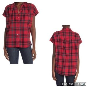 Madewell Central Short Sleeve Plaid print Top sz M